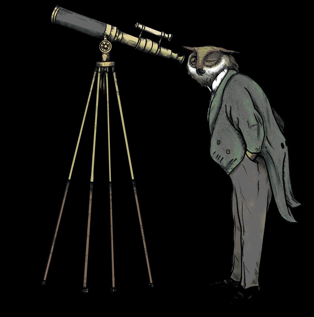 Man Owl with Telescope